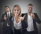 Entrepreneurs with thumbs up — Stock Photo