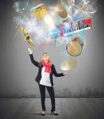 Woman plays with instruments — Stock Photo