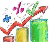 Arrow numbers and percentages — Stock Photo