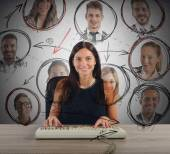 Businesswoman works and chating — Stock Photo