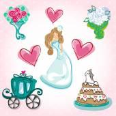 Bride organizes its fairytale wedding — Stock Vector