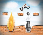 Businessman runs to overcome obstacles — Stock Photo