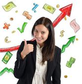 Businesswoman giving thumb — Stock Photo