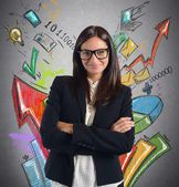 Businesswoman satisfied of increased profits — Stock Photo