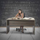 Beautiful math teacher — Stockfoto
