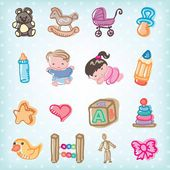 Kids and baby toys — Stock Vector