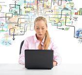 Businesswoman working on laptop — Stock Photo