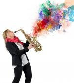 Women saxophonist and her passion — Stock Photo