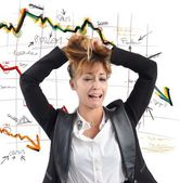 Businesswoman despairs for financial collapse — Stock Photo