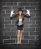 Businesswoman plays to mime — Stock Photo