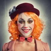 Beautiful vintage woman clown — Stock Photo