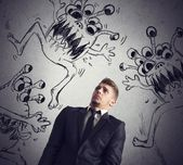 Man fearful of the contagion — Stock Photo