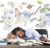 Teacher sleeping on desk — Foto Stock