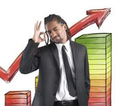 Businessman satisfied for financial profits — Stock Photo