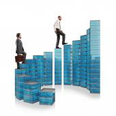 Business people climb the ladder — Stock Photo
