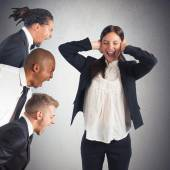Businesswoman tired of leaders screams — Stock Photo