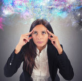 Businesswoman reflects with her imagination — Stock Photo