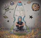 Man imagines to be astronaut — Stock Photo