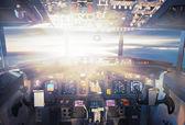 Pilot controls in aircraft — Stock Photo