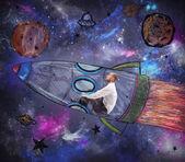Man becomes an astronaut — Stock Photo