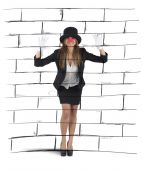 Mime imagining a wall — Stock Photo