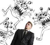 Man fearful of virus — Stock Photo