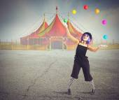 Jester clown juggling — Stock Photo