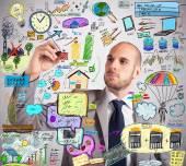 Businessman design improvement plan — Stock Photo