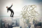 Businessman resolves confusing problem — Stock Photo