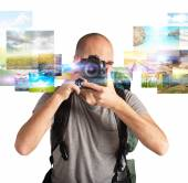 Man shows his passion for photography — Stock Photo
