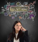 Businesswoman thinking about working solution — Stock Photo