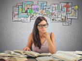 Girl studying all academic subjects — Stock Photo