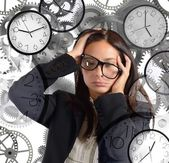 Businesswoman with little time — Stock Photo