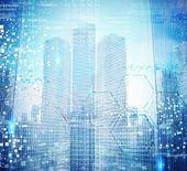 Futuristic background of city — Stock Photo