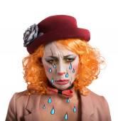 Theatrical sad clown — Stock Photo