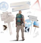 Traveler undecided which way to go — Stock Photo