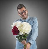 Man with a flowers bouquet — Foto Stock