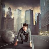 Businessman stuck in a challenge — Stock Photo