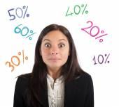 Businesswoman amazed by the percentage of profit — Stock Photo