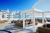 The terrace and building of luxury hotel, Antalya, Turkey — Stok fotoğraf