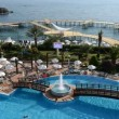 The swimming pool near beach at the luxury hotel, Antalya, Turkey — Stock Video #53996237