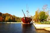 NOVI PETRIVTSI, UKRAINE - OCTOBER 14: The Galleon ship-restauran — Stock Photo