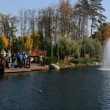 "The panning fountains and ""Khonka"" house in Mezhigirya on October 14, 2014 in Novi Petrivtsi, Ukraine. It is former residence of ex-president Yanukovich, now open to the public — Stock Video #56720261"