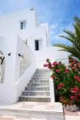 在传统的希腊风格,圣托里尼岛一家酒店的建设, — 图库照片
