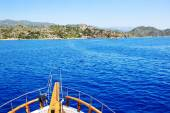 The view from yacht on bay and castle in Kekova, Turkey — Stok fotoğraf