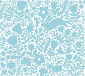 Vector texture with flowers, birds and butterflies — Stock Vector