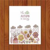 Autumn doodles card. — Stock Vector