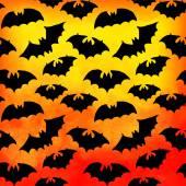 Vector watercolor pattern with bats, Halloween background — Stock Vector