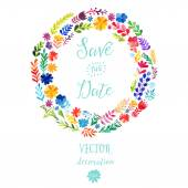 Colorful floral wreaths with summer flowers — Vector de stock