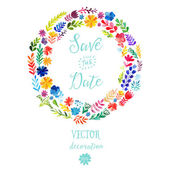 Colorful floral wreaths with summer flowers — Vetor de Stock